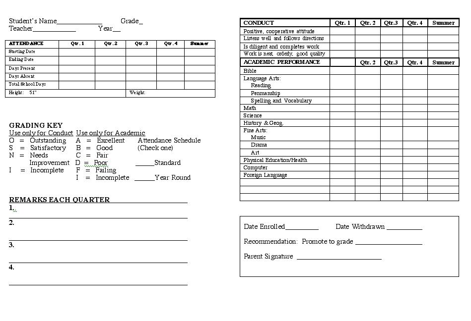 Custom Card Template homeschool high school report card template : homeschool helps report card template grade cards card example report