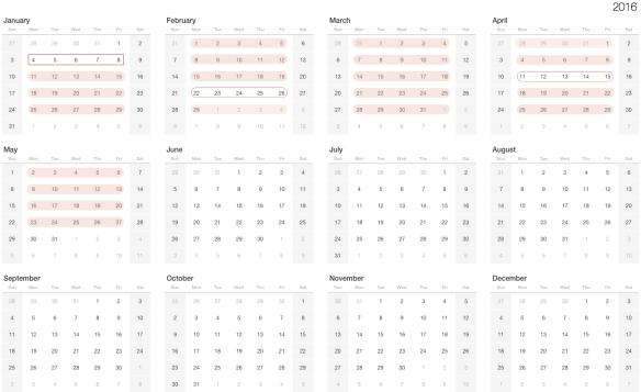 2016 Yearly Calendar