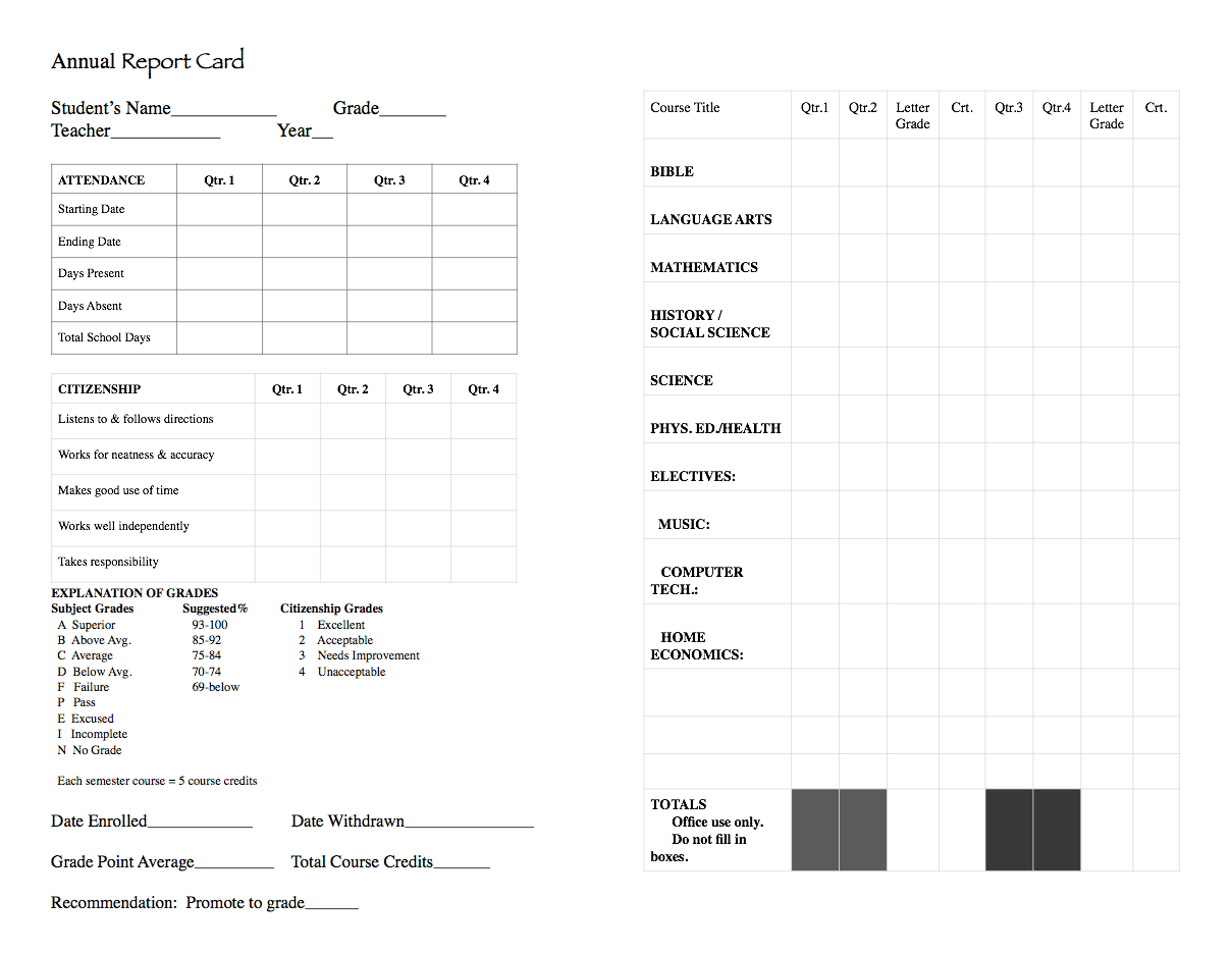 JuniorHigh Report Card – Homeschool Report Card Template
